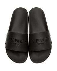 Givenchy - Black Rivet Logo Slide Sandals for Men - Lyst