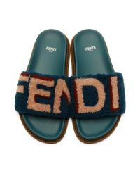 Fendi - Blue Shearling Logo Slides - Lyst