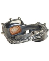 Bottega Veneta - Metallic Gunmetal Double Cubic Zircon Ring - Lyst