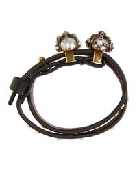 Alexander McQueen - Black And Gold Queen And King Double Wrap Bracelet - Lyst