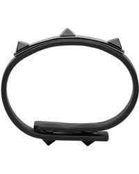 Valentino - Black Three Stud Bracelet for Men - Lyst