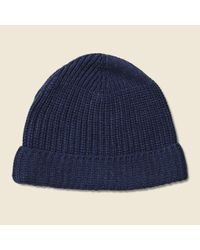 dee79d6d2ef Lyst - Universal Works Cotton Rib Beanie - Navy Marl in Blue for Men