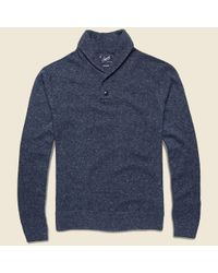 Grayers | Blue Andover Shawl Henley Pullover Sweater - Navy for Men | Lyst