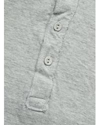 Save Khaki - Gray Pointelle Henley - Silver Heather for Men - Lyst