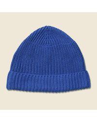Lyst - Universal Works Cotton Rib Beanie - Blue in Blue for Men 339f90b44fda