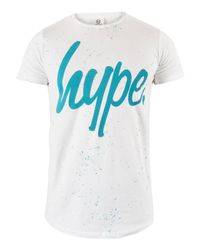 Hype - White/teal Speckle Script T-shirt for Men - Lyst