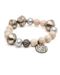 Hannah Ferguson - Multicolor Cream Beaded Bracelet With Charm - Lyst
