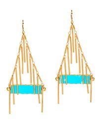 Devon Leigh | Blue 24k Turquoise Fringe Earrings | Lyst