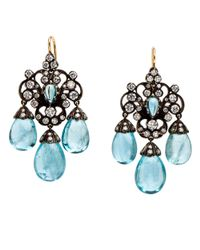 Fred Leighton | Multicolor Aquamarine And Diamond Chandelier Earrings | Lyst
