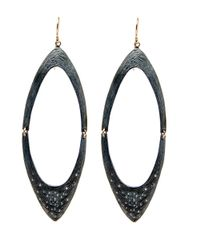 Shaesby | Metallic Large Open Marquis Earrings | Lyst