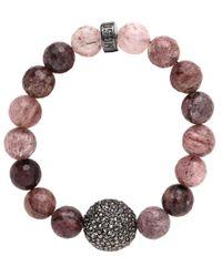 Nest   Multicolor Mulberry Quartz Stretch Bracelet With Pave Bead   Lyst
