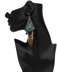 Devon Leigh - Multicolor Lapis Coral And Turquoise Fringe Drop Earrings - Lyst