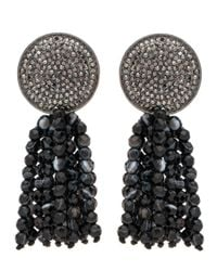 Nest | Pave Disk And Black Agate Tassel Clip On Earrings | Lyst