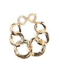 Nest | Metallic Hammered Gold-plated Chain Link Bracelet | Lyst