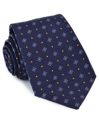 Brunello Cucinelli - Blue With Grey And Brown Diamonds Tie for Men - Lyst
