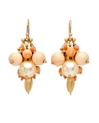 Ted Muehling - Multicolor Coral And Golden Pearl Bug Cluster Earrings - Lyst