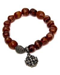 Loree Rodkin - Brown Carnelian Bead With Maltese Cross Bracelet - Lyst