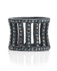 Yossi Harari - Metallic Lilah Oxidized Silver Cage Ring With Blue Diamonds - Lyst