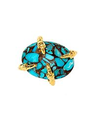 Devon Leigh - Blue Copper Infused Turquoise Mosaic Cabochon Ring - Lyst