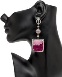 Loree Rodkin - Red Diamond And Square Ruby Drop Earrings - Lyst