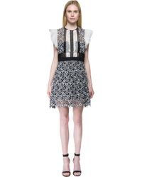 Self-Portrait - Black Ruffled Floral-Lace Dress - Lyst