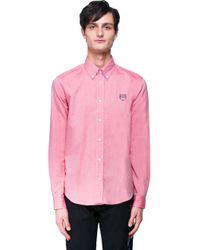 KENZO - Pink Embroidered Cotton Shirt for Men - Lyst