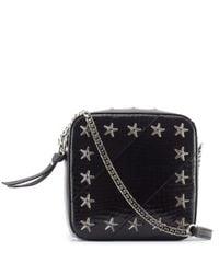 Jimmy Choo   Black Embellished Leather And Snakeskin Shoulder Bag   Lyst