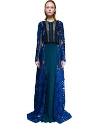 Self-Portrait - Blue Thea Lace-paneled Long-sleeve Maxi Dress - Lyst