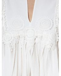 Chloé - White Embroidered Silk Blouse - Lyst