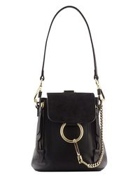 Chloé | Black Suede & Soft Leather Small Faye Backpack | Lyst