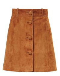 Miu Miu | Brown Suede Mini Skirt | Lyst