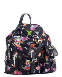 Prada - Black Surfer Print Nylon Backpack - Lyst