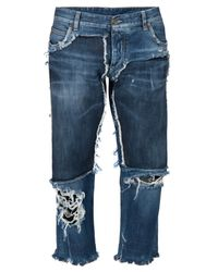 Dolce & Gabbana | Blue Frayed Denim Jeans With Flower Patch Appliqué | Lyst