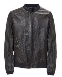 Prada | Black Wrinkled Leather Bomber Jacket for Men | Lyst