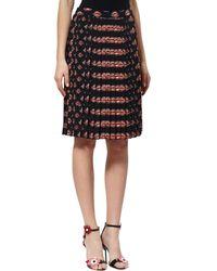 Prada Black Lip Print Pleated Skirt