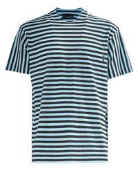 Prada - Blue Stripey Cotton Tee for Men - Lyst