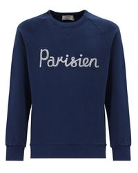 Maison Kitsuné | Blue Parisien Embroidered Cotton Sweatshirt for Men | Lyst