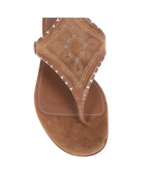Sergio Rossi - Brown Maya Flat Ankle Strap Embroidery - Lyst