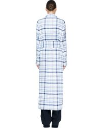 MSGM - Blue Long Checked Coat - Lyst