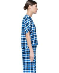 MSGM - Brown Checked Tee - Lyst