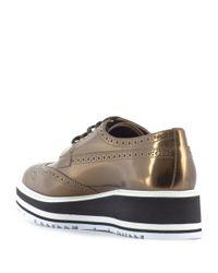 Prada - Brown Metallic Leather Derby Shoes With Platform - Lyst