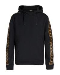 Fendi - Black Logo Cotton Hoodie for Men - Lyst