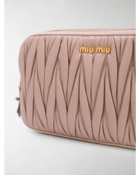 Miu Miu Pink Matelassé Double Zip Pouch