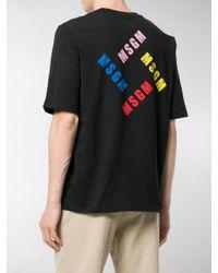 MSGM - Black Short-sleeve Logo T-shirt for Men - Lyst