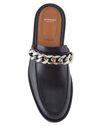 Givenchy - Black Chain Embellished Flat Mules - Lyst