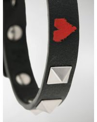 Valentino - Black Garavani Heart Rockstud Bracelet for Men - Lyst