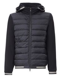 Moncler - Black Contrast Sleeve Nylon Hoodie for Men - Lyst