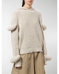 J.W. Anderson - Brown Desert Rib-knit Hoodie With Puff Sleeves - Lyst