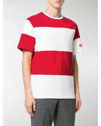 CALVIN KLEIN 205W39NYC - Red Block Striped T-shirt for Men - Lyst