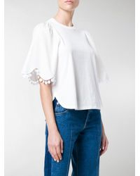 See By Chloé White Scalloped-sleeve T-shirt